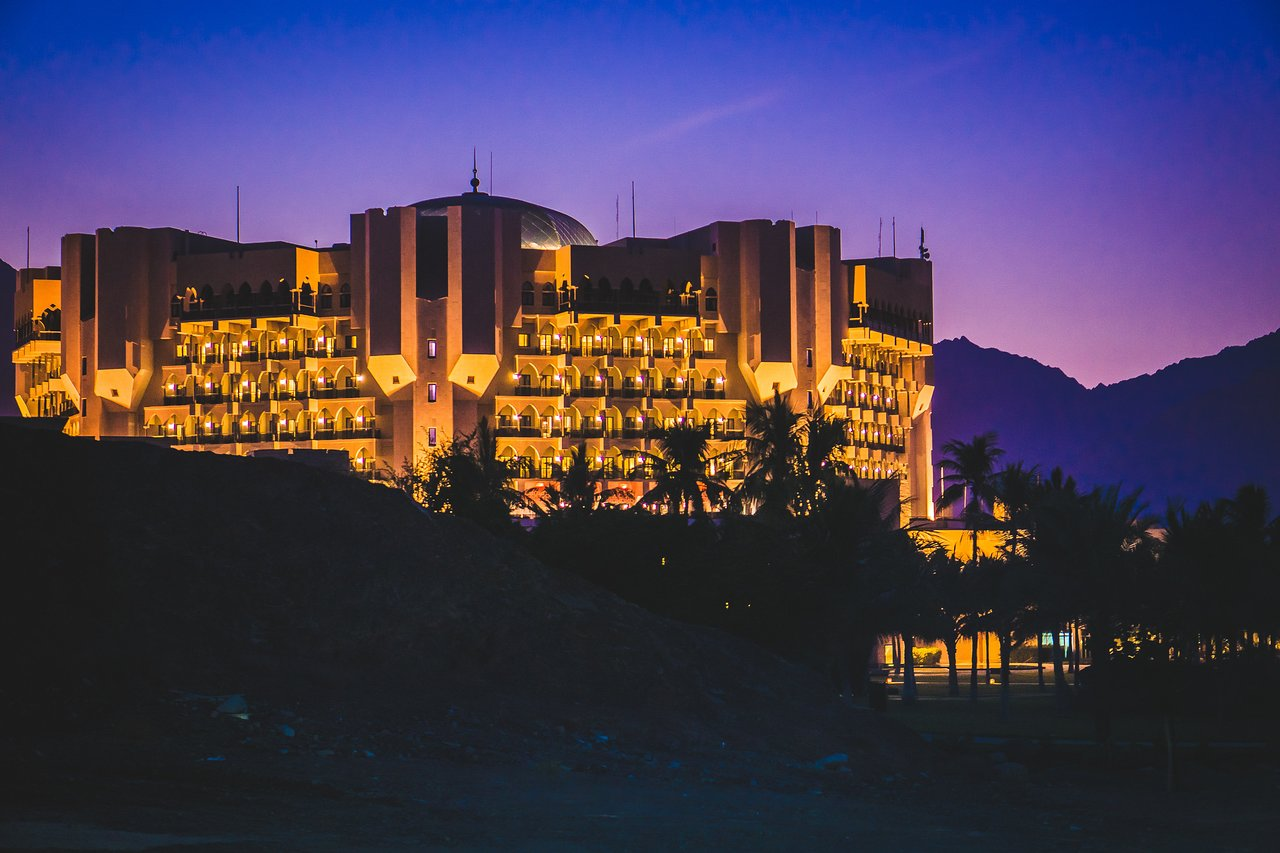 Al Bustan Palace Exterior at Nighttime
