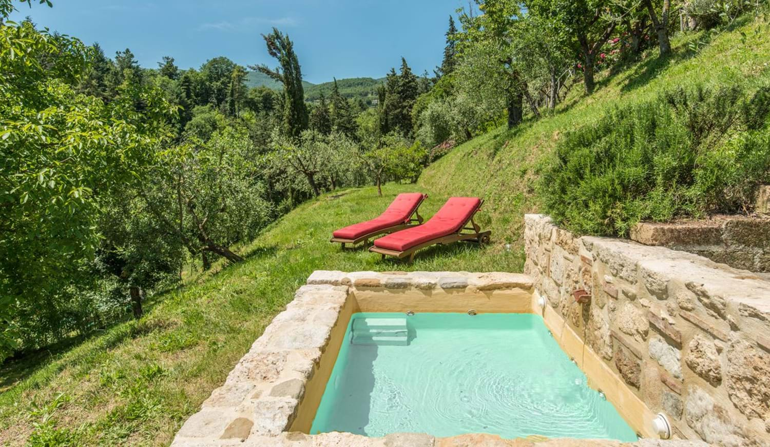 swimming pool surrounded by grass and two sun loungers beside it Villa La Torretta
