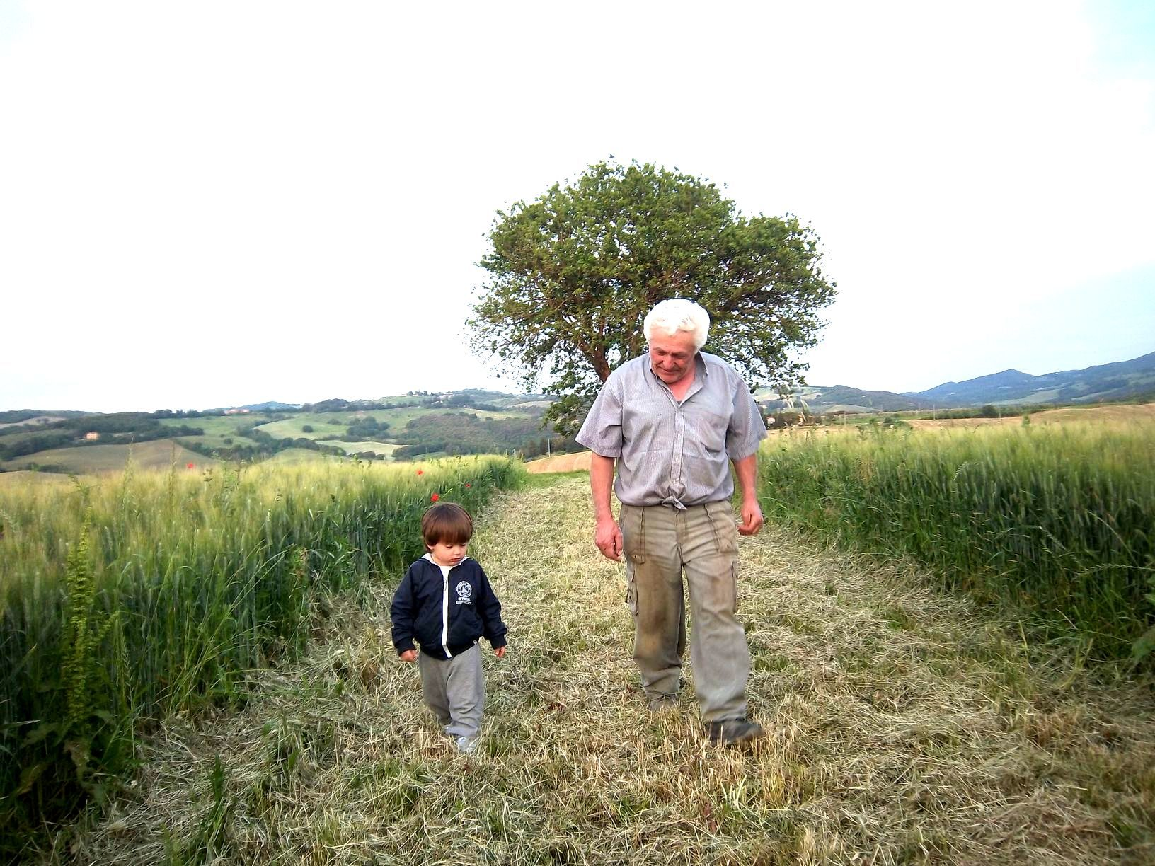 an old man and a young boy walking in a field Le Selvole Farmhouse