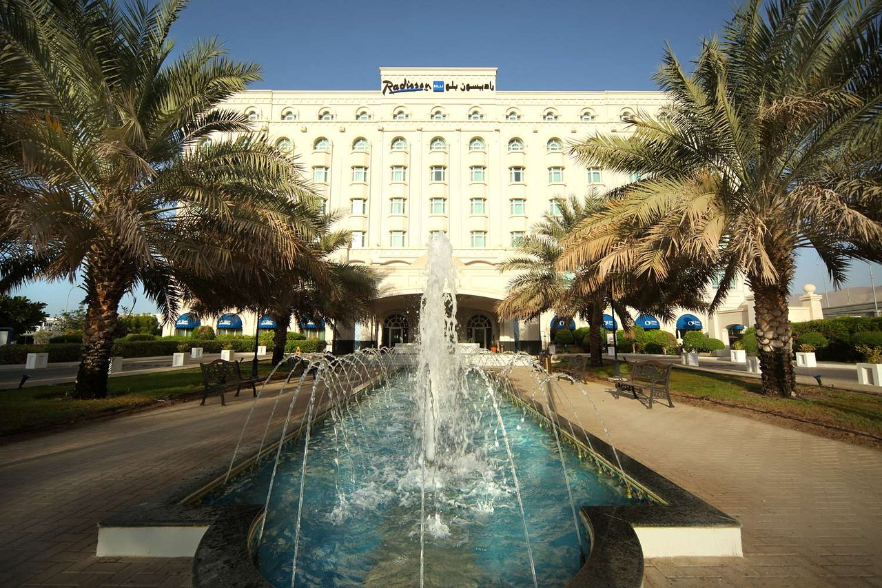 Radisson Blu Muscat Exterior with water Fountains