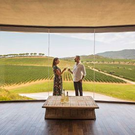 couple having a drink with a window view of vineyards