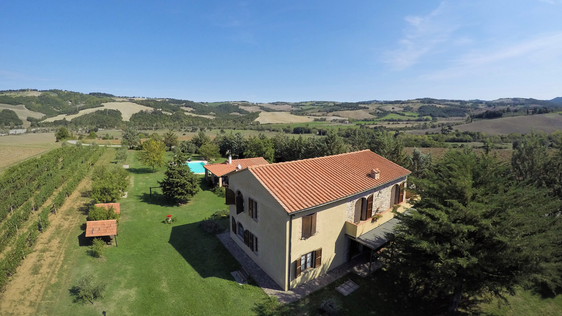 aerial view of Le Selvole Farmhouse