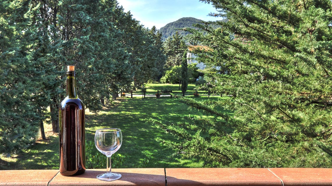 bottle of wine with a glass on a ledge Le Selvole Farmhouse