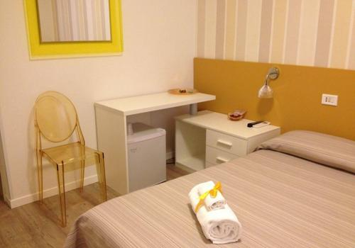 Room with double bed, desk, fridge and chair