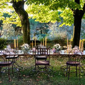 banquet table and chairs outside in front of two trees