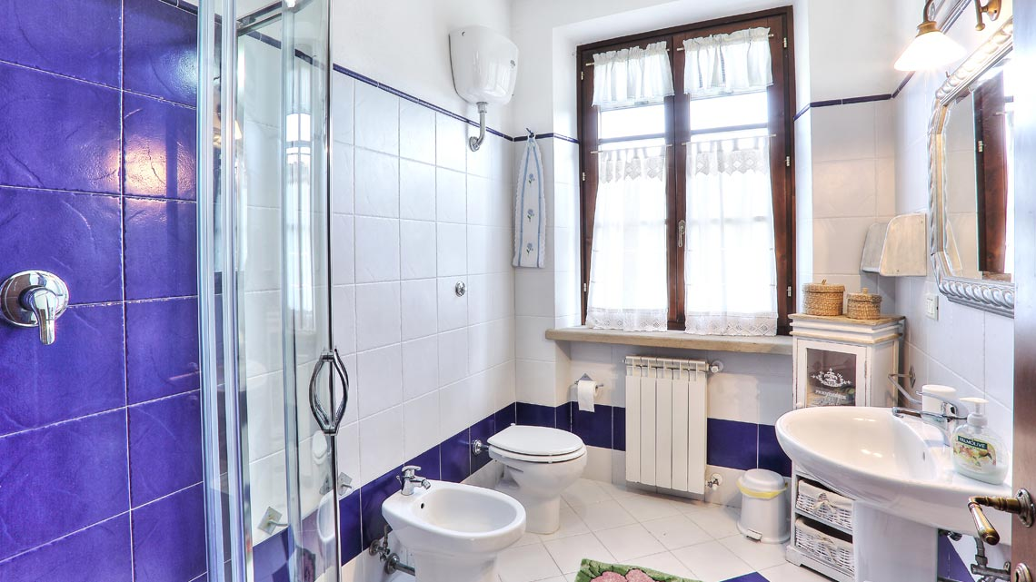 bathroom with shower Le Selvole Farmhouse